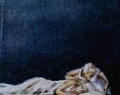 Fine Art Print from the original painting - Angel's Kiss - A5 - Looking/ Kiss / Float / Sleeping / Woman / Angel / Night