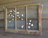 "Original Painting, Vintage Window--Cherry Blossoms 2, 20""x28.5"""