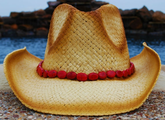 Straw Cowgirl Hat with Red Band