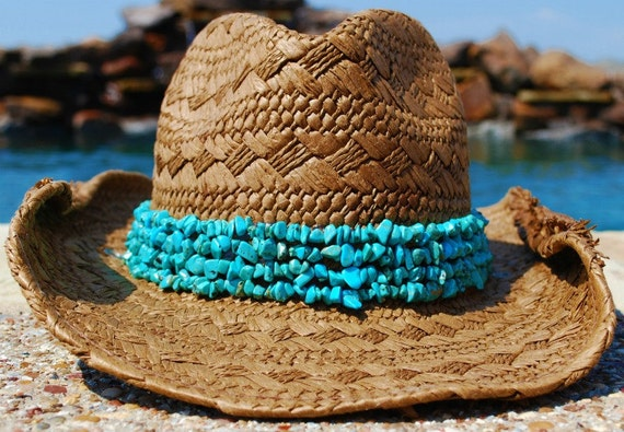Handwoven Brown Cowgirl Hat with Turquoise Band