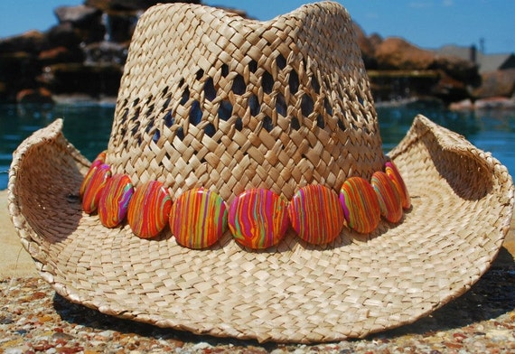 Handwoven Straw Hat with Marbled Band