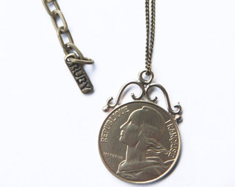 Vintage Upcycled Coin Pendant Necklace