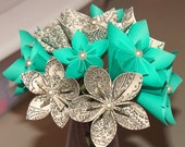 Origami Flower Bouquet  in Ocean Blue and Paisley Print