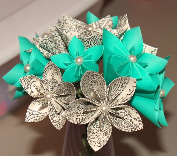 items similar to origami flower bouquet in ocean blue and paisley print on etsy