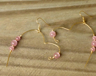 Pink Cat's Eye on Gold Hammered Wire Heart Earrings