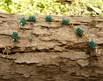 Green and Gold Coiled Wire Bracelet