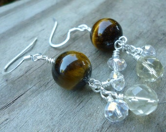 Tiger's Eye and Citrine Earrings