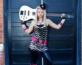 I Love Rock N Roll black/hot pink mini top hat, pink zebra trim rhinestone heart, fascinator, photo prop