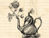 Teapot Rose Butterfly, teapot Digital Download  for Iron on Transfer, Papercrafts, Pillows, T-Shirts, Tote Bags, Burlap, No 00056