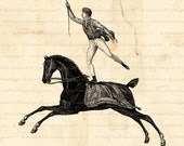 Vaulting Man, Equestrian, Horse - Digital Download  for Iron on Transfer, Papercrafts, Pillows, T-Shirts, Tote Bags, Burlap, No 00130