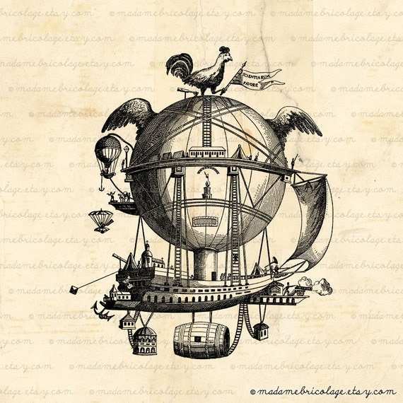 items similar to instant download steampunk air balloon