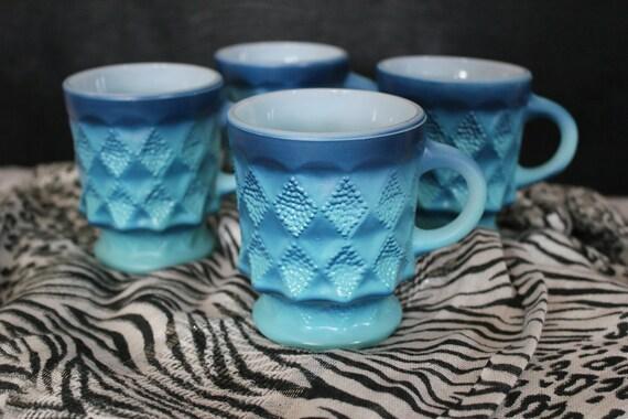 Anchor Hocking Blue Fire King Mugs - Set of 4
