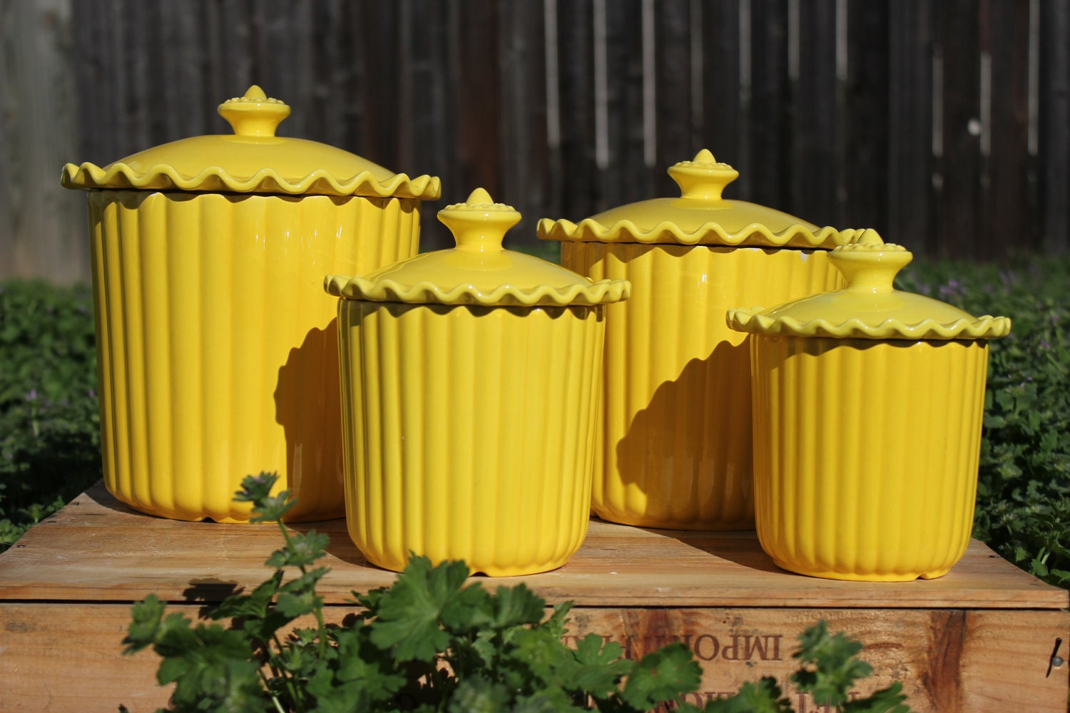 cheery yellow ceramic kitchen canisters set of 4