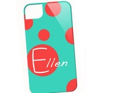 Polka Dot Name Spot  - Turquoise n Red Case
