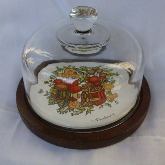 Vintage Wood Ceramic Cheese Plate Glass Dome Cover.  Goodwood. 1970s