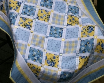 Blue Whiteand Yellow Cheerful Cottage Quilt