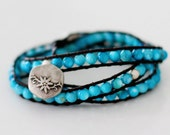 Triple Wrap Leather Beaded Bracelet