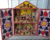 Vintage Peruvian Retablo Mexican Latin American Folk Art Nativity Shadow Box Alter Box Free Shipping