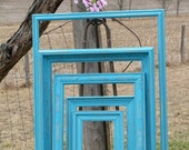 Reserved For Chloe Set Of 5 Grouping of 5 Shabby Chic Beach Decor Wooden Wall Art Frames Turquoise Blue