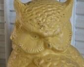 Upcycled Rustic Yellow Owl Figurine Country farmhouse Decor Mantel / Shelf Decor Paris Apartment Decor