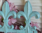 Aqua Blue Iron Fleur De Lis Wall Key Hanger Hooks Necklace Rack Organizer Shabby and Chic Parisian Chic Apartment Decor