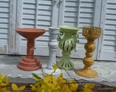 Upcycled Set of 4 Candle Holders Peach Green White Yellow Candle Sticks upcycled Cottage Chic