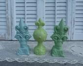 Green Set of 3 Fleur De Lis Finials Cottage Chic Mantel Shelf Decor French Apartment Decor