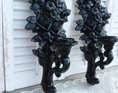 Vintage Hollywood High Regency Black Candle Sconces Holders Apartment Decor Wall Hanging
