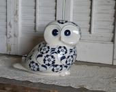 Reserved for Cchampagne Vintage Cardinal Porcelain Blue White Owl Cottage Chic Paris Apartment Decor Shelf Mantel Decor
