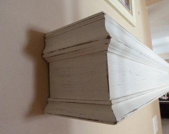 "48""L White Fireplace Mantel, Shelf, Floating Shelf, Wooden Mantel, Cottage Chic, Rustic Farmhouse Shelf, Mantle, Fireplace Mantel, Headboard"