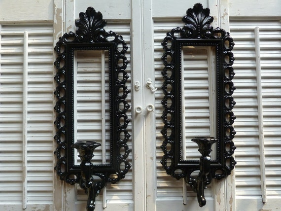 Hollywood Regency Set Grouping of 2 Black Candle Holders Sconces Ornate Wall Hanging High Regency Decor