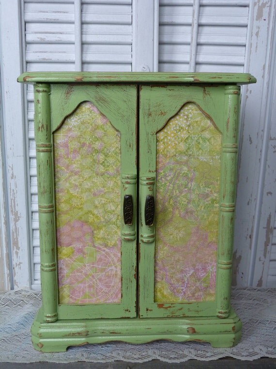 Shabby Chic Mint Green Wooden Jewelry Box Holder Organizer
