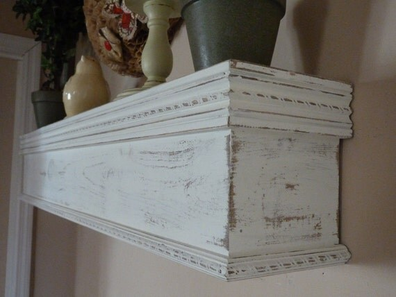 Cottage Chic White Mantle 48 L Distressed By
