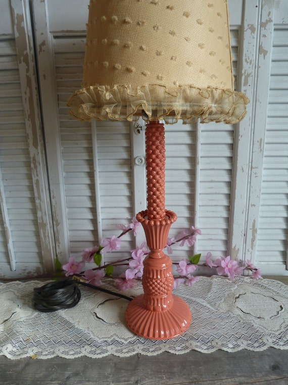 Vintage Upcycled Parisian Chic Decor Upcycled Vintage Mini Glass Lamp Coral Desk Lamp light