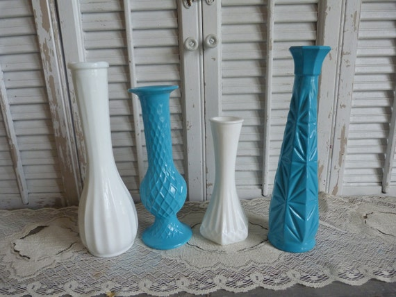 Reserved For Athenel  Vintage Upcycled Glass Vases Turquoise Blue set of 2 only