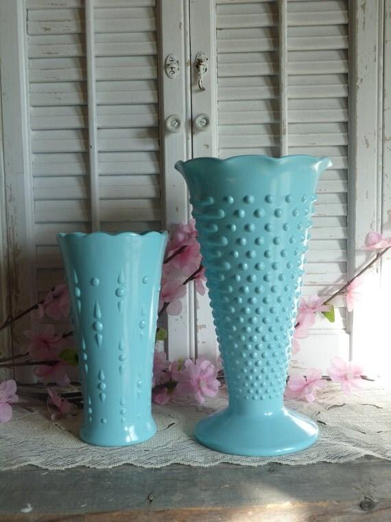 Shabby and Chic Aqua Blue Set of 2 Upcycled Glass Vases Beach Cottage Decor Hobnail Vase
