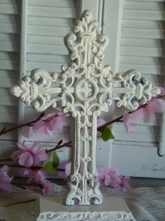Reserved For Kate, White Distressed Cottage Chic Iron Ornate Cross Mantel Shelf Decor Shabby and Chic