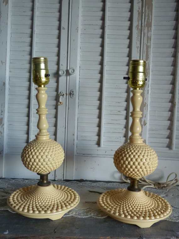 Yellow Upcycled Vintage Glass Lamp / Yellow  Desk Lamps / Parisian chic Apartment Decor Lamps Set of 2