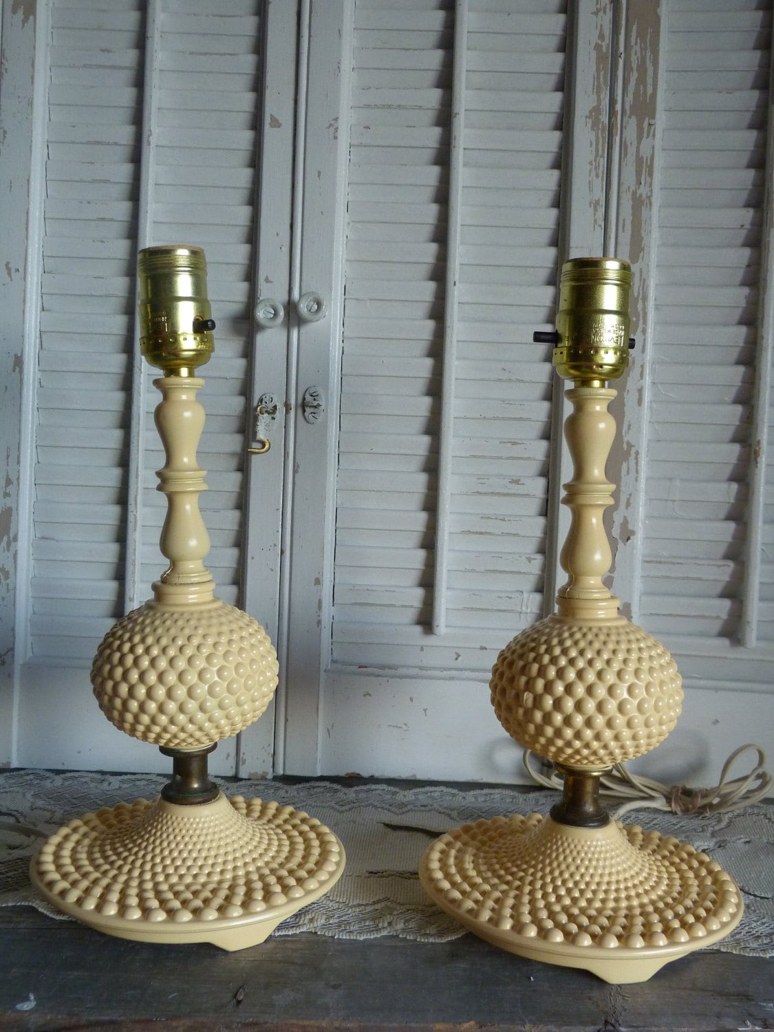 yellow upcycled vintage glass lamp yellow desk lamps. Black Bedroom Furniture Sets. Home Design Ideas