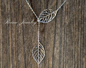Leaf Lariat Silver Necklace Silver Lariat Bridesmaid Necklace Wedding Jewelry Leaves Falling Modern Necklace