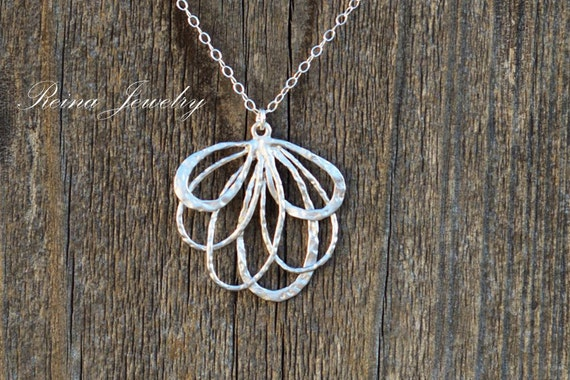 Fan Necklace - Sterling Silver Necklace - Silver Feather Pendant - Gift