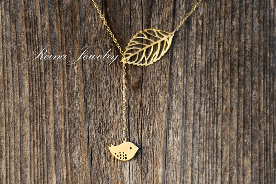 Gold Lariat Necklace - Bridal Necklace - Bird Lariat - Bidesmaid Gifts