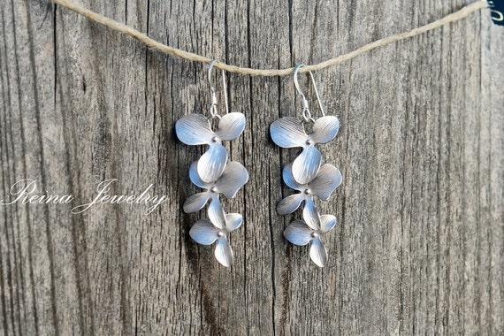 Orchid Flower Earrings Bridesmaid Earrings Bridesmaid Gifts Bridal Earrings Silver Orchid Earring Wedding Party Gifts