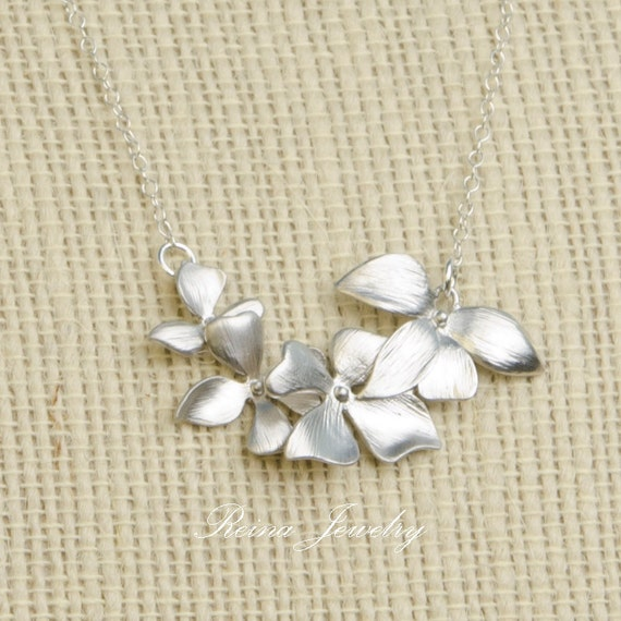 Bridesmaid Necklace Silver Flower Necklace Silver Flower Pendant Wedding Jewelry