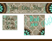 Quatrefoil and actual Turquoise Etsy banner, avatar, and thank you set
