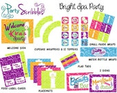 Bright Spa Party Package With Banner, Signs & Favors