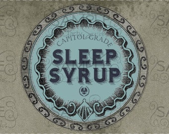 Sleep Syrup Water Bottle Labels INSTANT DOWNLOAD