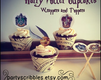 Wizard Party Cupcake Wrappers & Toppers Set INSTANT DOWNLOAD