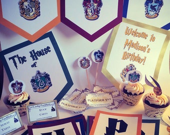 Wizard Houses Party Package With Activities, Favors, and Banner