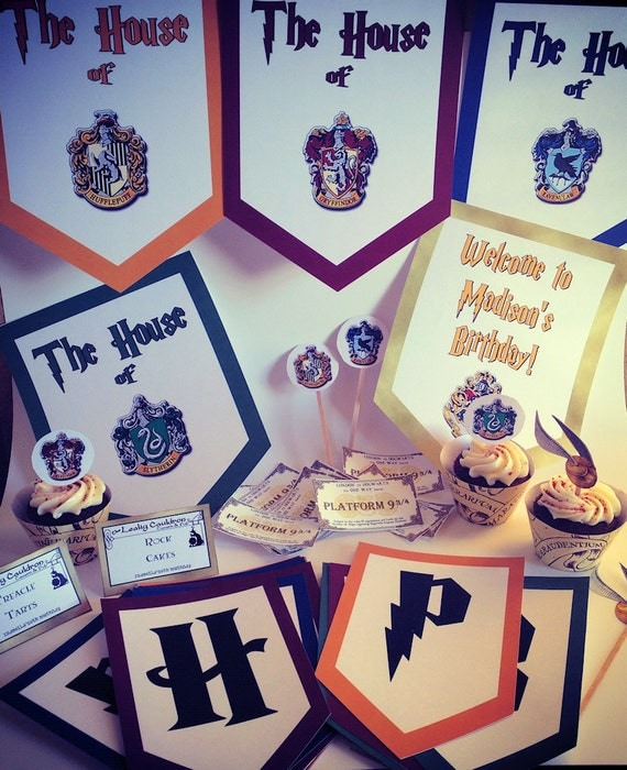 Wizard Houses Printable Party Package With Activities, Favors, and Banner
